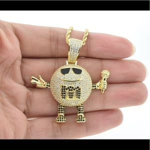 COPY - 14K Gold Plated Rapper Chocolate M&M Neckl…